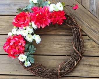 Spring Wreath - Grapevine Wreath - Floral Wreath - Front Door Wreath - Easter Wreath - Mother's Day Gift