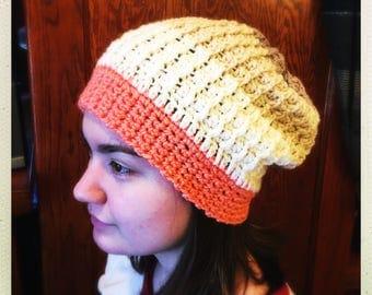Crocheted Orange, Cream & Tan Slouchy Hat