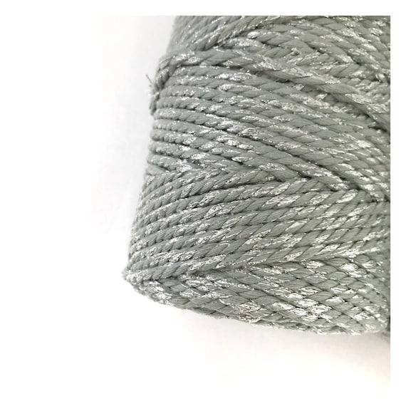 Metallic Macrame Cord GREY GLITTER