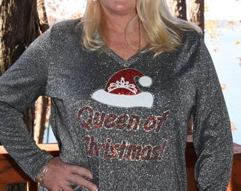 Christmas  Queen of Christmas rhinestone glitter  bling plus size shirt  1X, 2X, 3X, 4X  silver tunic shirt plus size only