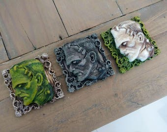 Frankenstein Mini Picture Frame Ornaments