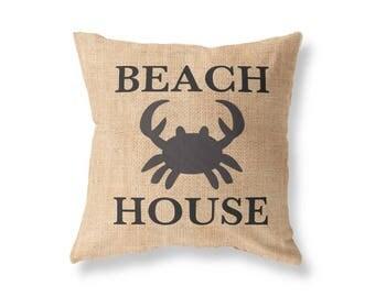 Printed Burlap Pillow Beach House Rustic Decor - Beach House Pillow