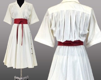 Vintage Clothing, 40s Style Dress M, Full Skirt Dress, Tea Length Dress, Shoulder Pads, White Dress, 80s Dress, Cotton Dress, SIZE M 8 10