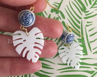 Palm Leaf Earrings | WHITE, Chinoiserie, lightweight, blue and white, gold, statement earrings, designs by, laurel leigh