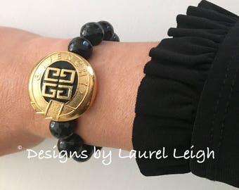 GOLD and BLACK Beaded Bracelet | stretchy, Greek key, Designs by Laurel Leigh, vintage, designer