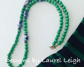 Green Chinoiserie Beaded Necklace | statement necklace, long, navy, emerald, kelly green, blue and white, Designs by Laurel Leigh