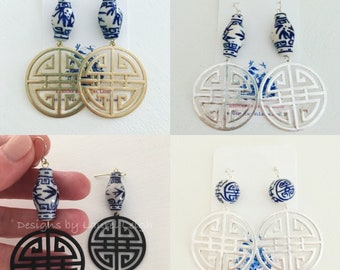 Chinoiserie Symbol Earrings | GOLD, SILVER, BLACK, ginger jar, blue and white, statement earrings, Chinese, long life symbol