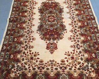 Carpet rug 100% wool fantastic carpet brown red beige color warm vintage style carpet old rug retro style suitable for home & restaurant.