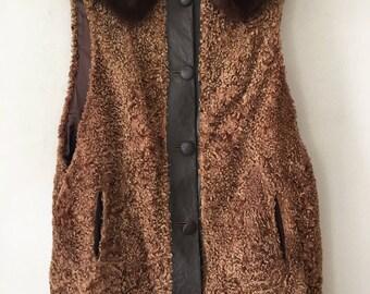 Fabulous Long Vintage Genuine Karakul Fur Vest Warm And Elegant Women's Size Medium.