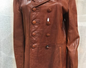 Bright brown women's jacket, made from real leather, really soft leather, mid height, bright jacket for lady's, vintage style, size-large.