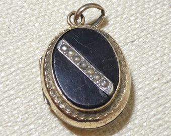 Antique Mourning Locket Pendant Charm French Rolled Gold Necklace Pearl Black Onyx