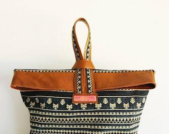 pouch ethnic leather indigo hemp