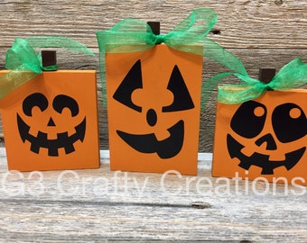 Jack o lantern blocks, Halloween blocks, halloween decor, block set wooden decor, pumpkin decor, jack o lantern decor, fall decor
