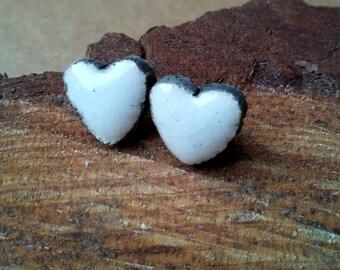 White Heart Earrings raku ceramic with butterfly clasp
