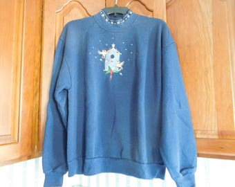 Vintage Women's Navy Blue Holiday Birdhouse Sweatshirt Size Large by Top Stitch by Morning Sun