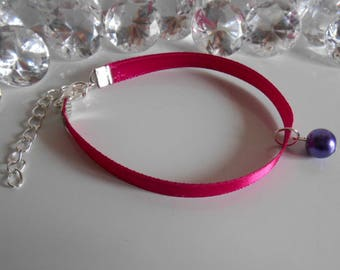 Wedding bracelet adult/child pendant purple and fuchsia satin ribbon