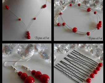 Set of 4 wedding pieces red passion pearls cascade