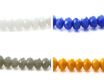 Set of 20-50 or 100 glass beads flat faceted 3x4mm (fine) white, cobalt blue, gray yellow sunflower or medium