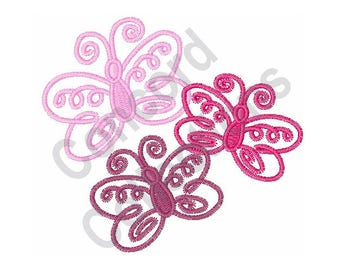 Pink Butterflies - Machine Embroidery Design