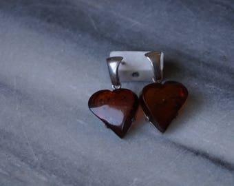 Dark Cognac Amber Earings, Silver