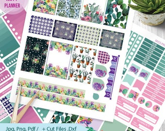Cactus Succulents Printable Planner Stickers Kit BIG MAMBI Happy planner Monthly /Weekly Kit,Printable Sampler,Instant download BIG Happy