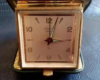 SWISS ANGELUS JUNIOR 8 Days Travel Alarm Clock, Swiss Made Angelus Table Travel Alarm Clock, Swiss Angelus Travel Clock, Travel Swiss Clock