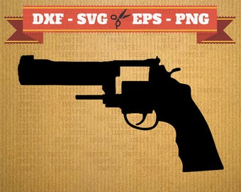 Gun DXF and SVG File vector files for cricut, Pistol cutting files, clipart Handgun, DXF files Colt, silhouette Gun, svg Guns