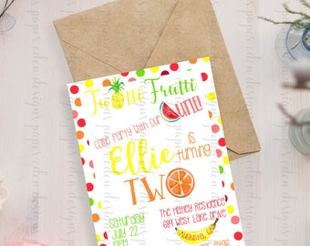 Fruity Second Birthday Invitation | Digital