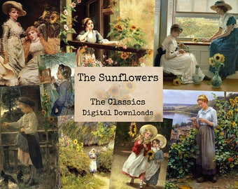 The Sunflowers -  Digital Ephemera Classics, Digital Images, Vintage Art, Instant Download, Digital Paper, Digital Collage