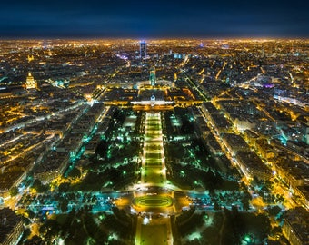 Bird's Eye View of Paris from the Eiffel Tower, France. High quality print, home decor.