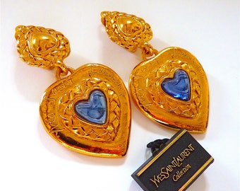 SAINT LAURENT Earrings, YSL Clip On Earrings, Vintage, Yves Saint Laurent Heart, Blue, Gold, French Haute Couture, Gift Idea, Free Shipping