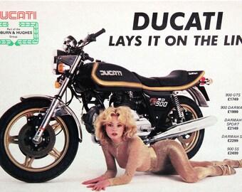DUCATI SD Vintage Motorcycle Ad Print 24x33in Darmah 900