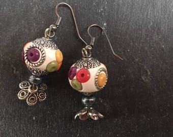 earrings with Indonesian beads