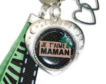 "Key special MOM ""I love you MOM"" - cabochon Keychain - mother's day-gift for MOM"