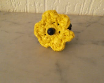 Recycled ring black yellow flower crocheted, upcycling