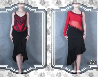 Black skirt for Tango dress. Decorated with lace. Original handmade. Ready to ship.