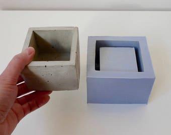Concrete planter mold, Geometric concrete mould, Silicone concrete mold, Square flower pot mold, Cube planter mold, Concrete pot mold