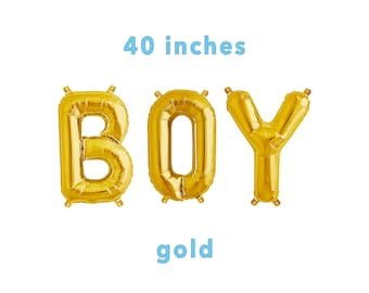 "BOY Letter Balloons | 40"" Gold Letter Balloons 