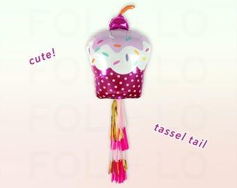 "PINK CUPCAKE Balloon | 30"" Sprinkles Cupcake | Cute Cupcake Balloon | Giant Cupcake Decor | Sweets Party Balloon | Pink Party Decor"