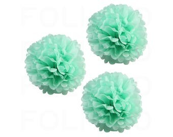 "MINT Puff Ball | Tissue Paper Puff Ball | 16"" Puff Ball Decor 