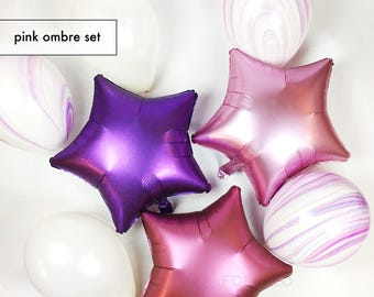 """Pink Ombre Set of Balloons 