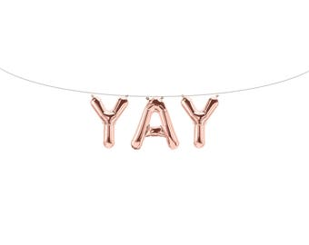 YAY Rose Gold Letter Balloons | Metallic Letter Balloons | Rose Gold Party Decorations
