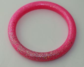 SMALL slightly imperfect pink with silver glitter bangle