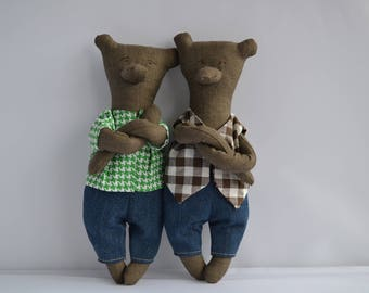 Mister Bear-Soft Sculpture-Home Decor-Removable Clothing - Birthday Gift - Nursery Decor - Stuffed Bear