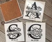 Personalized Coasters, Tile Coaster, Monogrammed Coaster, Wedding Favor, Wedding Gift, Name Tile Coasters, Name Sign, Bridal Shower, Coaster