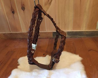 Braided Brown Leather Dog Harness