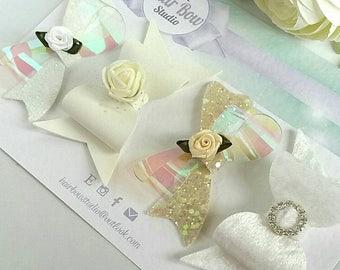Bridal, Bridesmaid,Wedding, Flower Girl Gift, Occasion, Christening,Spring, Summer,White,Ivory,Glitter Hair Bows,Suede,Headbands,Vinyl, Uk
