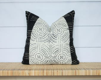 Mudcloth Pillow Cover | Authentic African Mud Cloth | Boho Pillow | 22x22