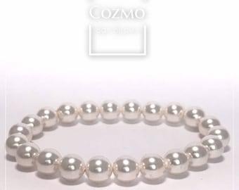 Bracelet de Swaroski perles cristal blanc (8 mm)