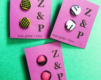 African Print Earrings // Button Earrings // Stud Earrings